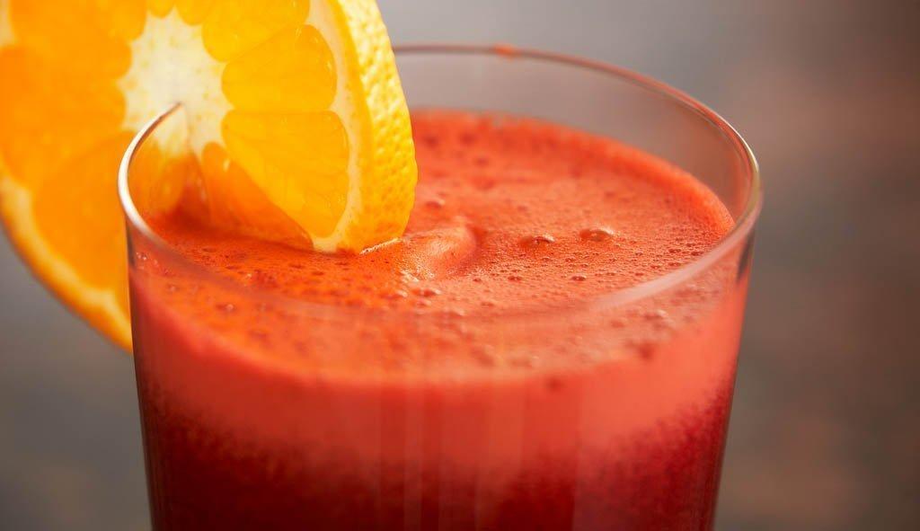 zumo de remolacha, zanahoria y naranja